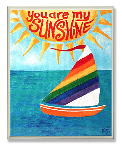 The Kids Room by Stupell You Are My Sunshine Rainbow Sailboat Rectangle Wall Plaque, 11 x 0.5 x 15, Proudly Made in USA for $<!--$29.99-->