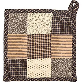 VHC Brands Primitive Tabletop Kitchen Prim Grove Fabric Loop Cotton Patchwork Pot Holder, One Size