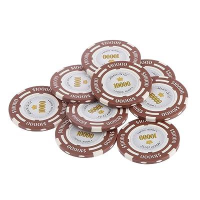14G Juegos de Mesa Fichas Chips Arcilla Etiqueta Sala de Casino Poker Texas Mahjong Doble Colores - $10000: Juguetes y juegos