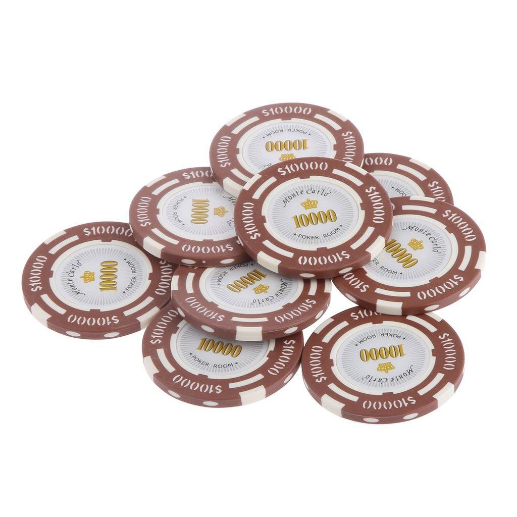10pcs Jetons de Poker Monte Carlo Etiquette Casino Chips en Argile avec Valeur $1-10000 - 10000, L Generic