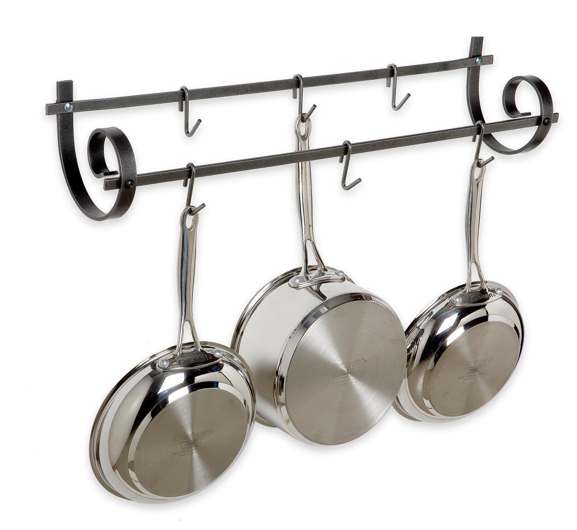 Enclume Decor Utensil Wall Pot Rack, Hammered Steel