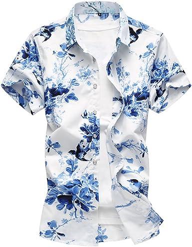 WanYangg Hombre Hawaianas Camisas Estampado Floral Camisa ...