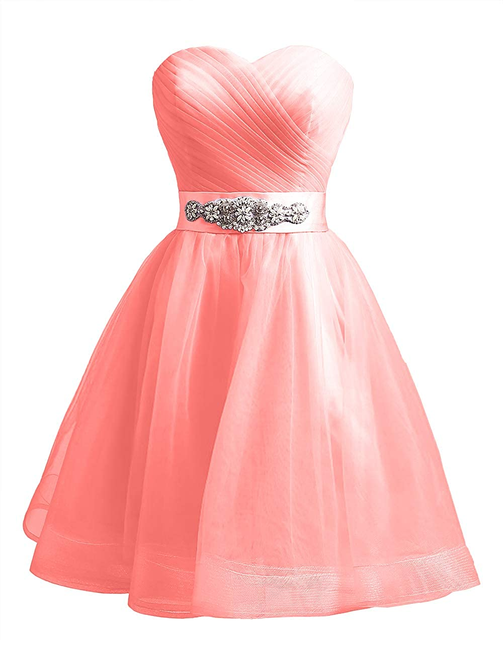 Coral Uther Sweetheart Beaded ALine Homecoming Dress Short Cocktail Dress Tulle Porm Gown