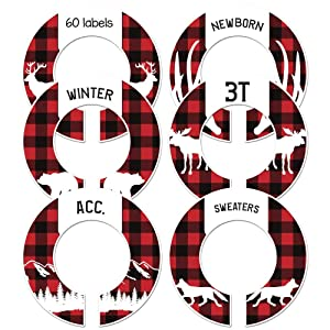 Baby Boy Nursery Closet Clothing Size Dividers or Adult Buffalo Plaid Set of 6 (1.5 Inch Rod)