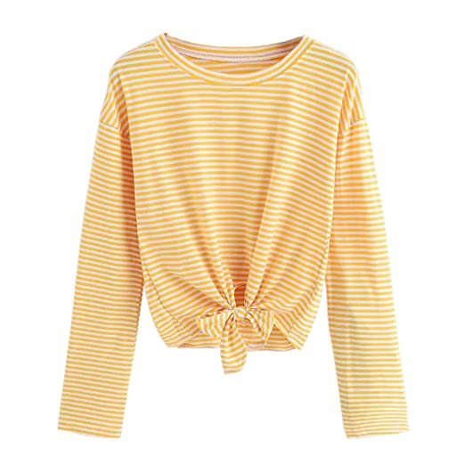 89c4f01a8939 AOJIAN Blouse Women Long Sleeve T Shirt Striped Tie Knot Front Casual Tops  at Amazon Women s Clothing store