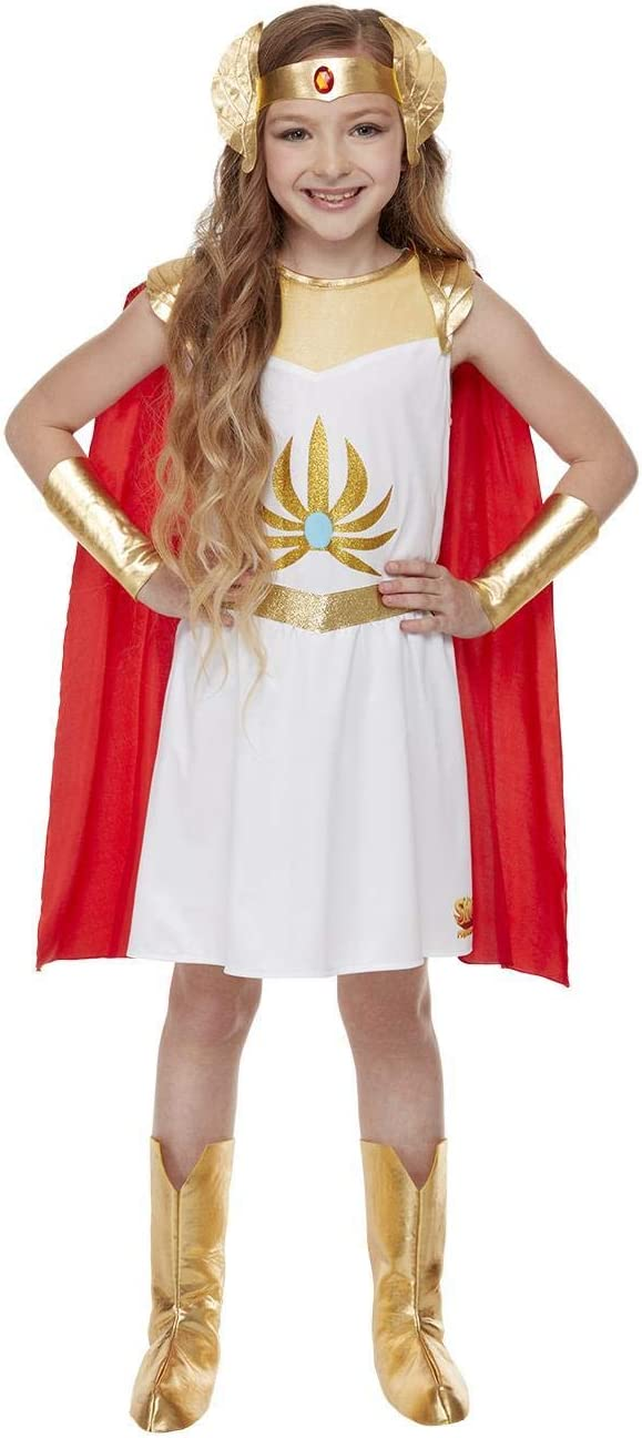 Girls She-Ra Costume - Dress, Cape, Headband, Cuffs & Boot Covers