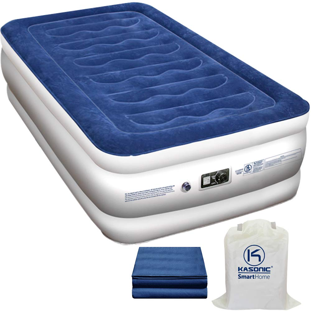 Kasonic Air Mattress Twin Size, Inflatable Airbed with Free Fitted Sheet & Carry Bag; Height 18''; Built-in ETL Listed Electric Pump Raised Air Bed; Easy Setup for Home Use/Office Relax/Camping