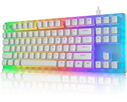 Womier K87 Mechanical Gaming Keyboard Gateron Switch TKL Hot Swappable Keyboard Partitioned RGB Backlit Compact 87 Keys for P