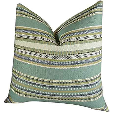 Plutus Brands Plutus Chic Stripe Aloe Handmade Throw Pillow 20 X 26 Standard Light Blue Green Cream