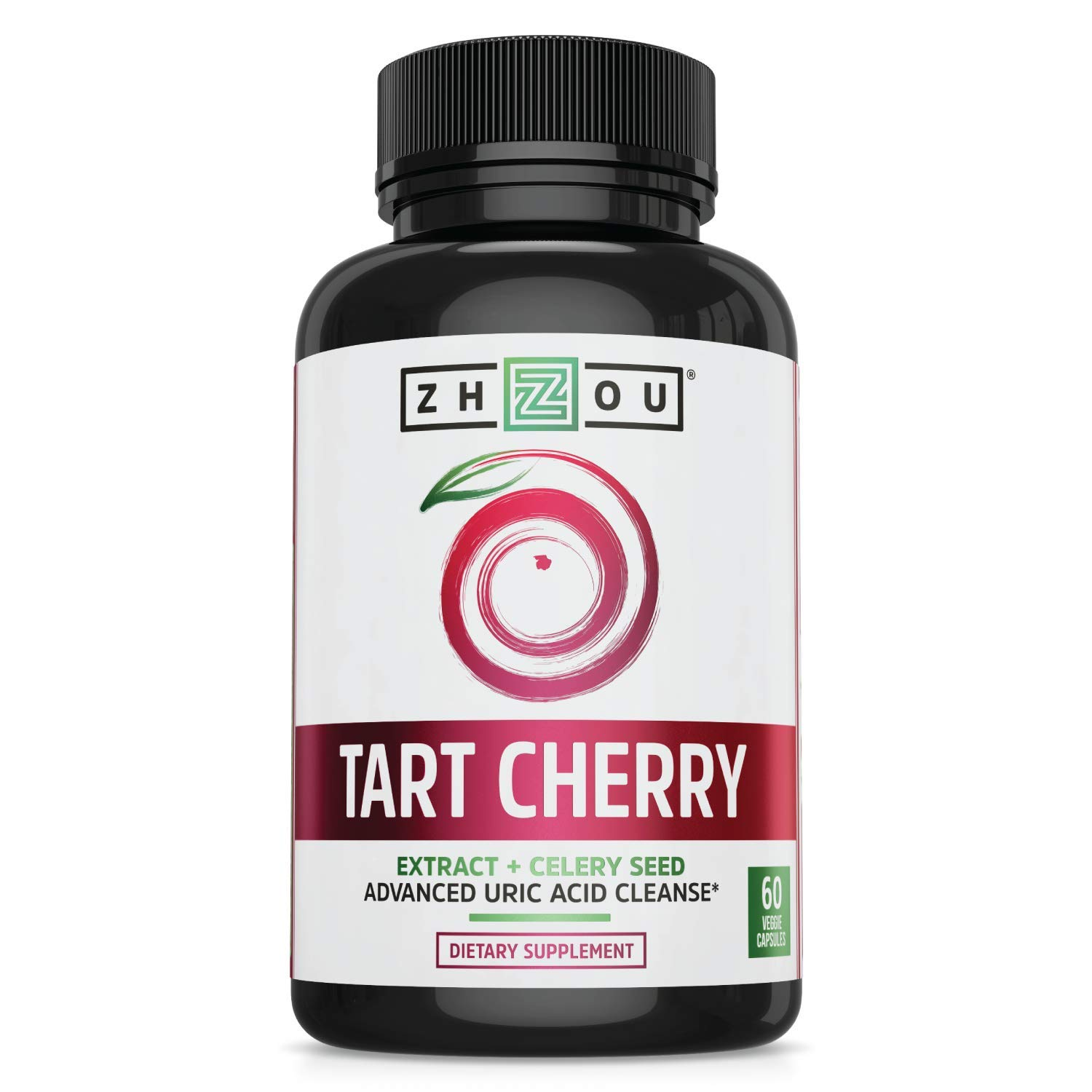 Zhou Tart Cherry Extract with Celery Seed | Advanced Uric Acid Cleanse for Joint Comfort, Healthy Sleep Cycles & Muscle Recovery | 30 Servings, 60 Veggie Caps
