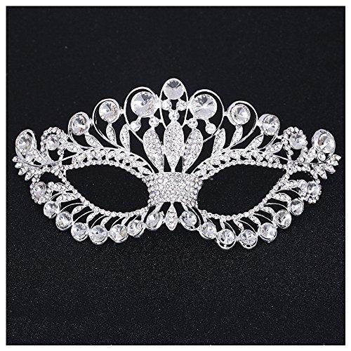 V For Vendetta Couples Costumes (Silver Metal Stunning Rhinestone halloween Eyes Masquerade Mask)
