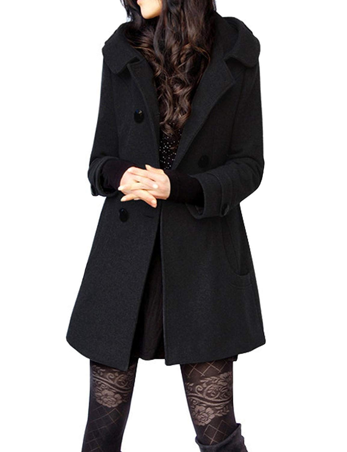 Tanming Women's Winter Double Breasted Wool Blend Long Pea Coat with Hood (Large, Black)