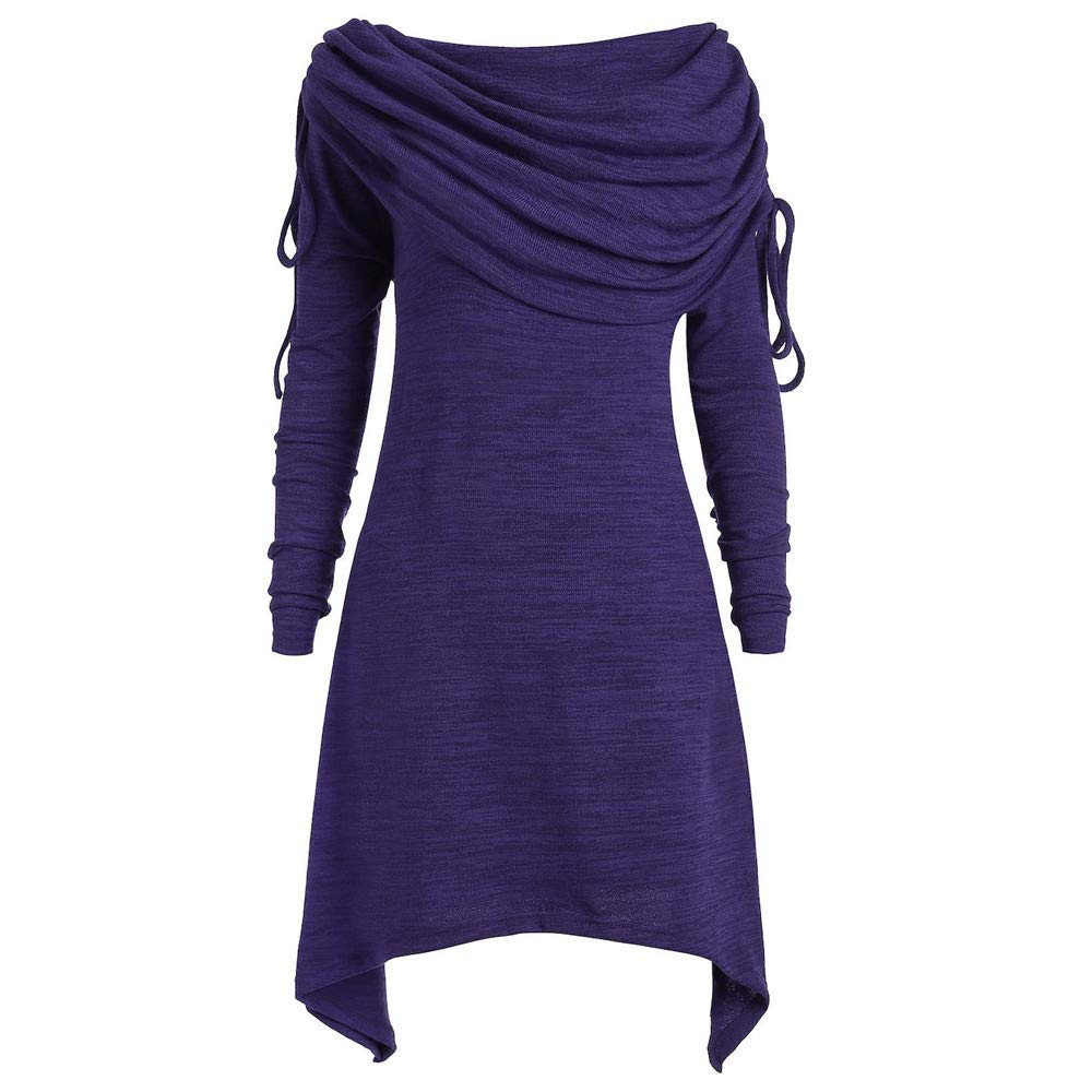 GOVOW Autumn Long Sleeve Womens Casual Fashion Solid Ruched Long Foldover Collar Tunic Blouse Tops(US:8/CN:XL,Purple)