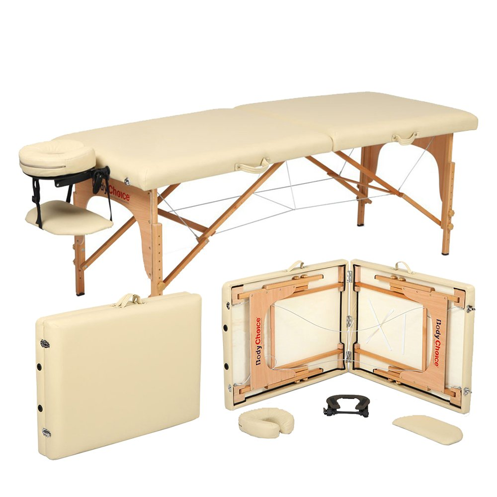 Portable Massage Table - Length with Headrest: 82 - Height Adjustable 24- 34 - Working Weight: 440lbs - High-quality, Beech Hardwood - Free 3-Piece White Poly-Cotton Sheet Set BodyChoice