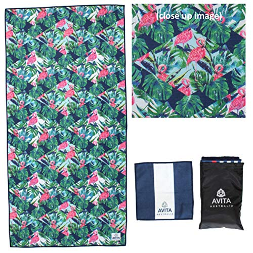 Microfiber Beach Towel, Waffle Weave, Cabana, Quick Dry, Compact, Light, Sand Free. Perfect for: Beach, Pool Yoga, Gym, Travel, Cruise, Boating, Outdoor, Gift for Mom. (Tropical Flamingo)