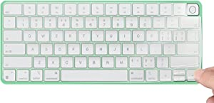 Keyboard Cover Skin for 2021 Apple iMac 24 inch Magic Keyboard with Touch ID, iMac 24 inch 2021 Accessories, Ultra Thin TPU Apple iMac 24 inch A2449 Waterproof Keyboard Protector-Clear/Transparent