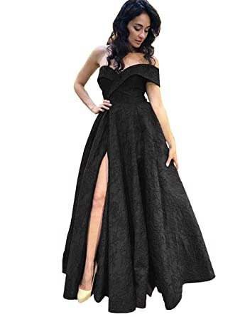 cfe3678b4e3 Asoiree Women's Lace Appliques Prom Dresses Slit One Shoulder Bateau Evening  Gowns Black