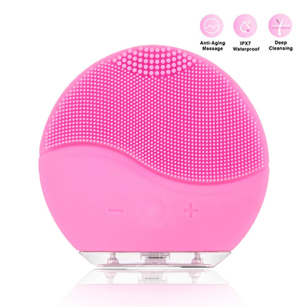 Facial Cleaning Brush NVEDEN Waterproof Silicon Facial Cleaner Electric Masager Cleansing System for Deep Cleansing Skin Care Face Massage Brush and USB Charging Cables Pink