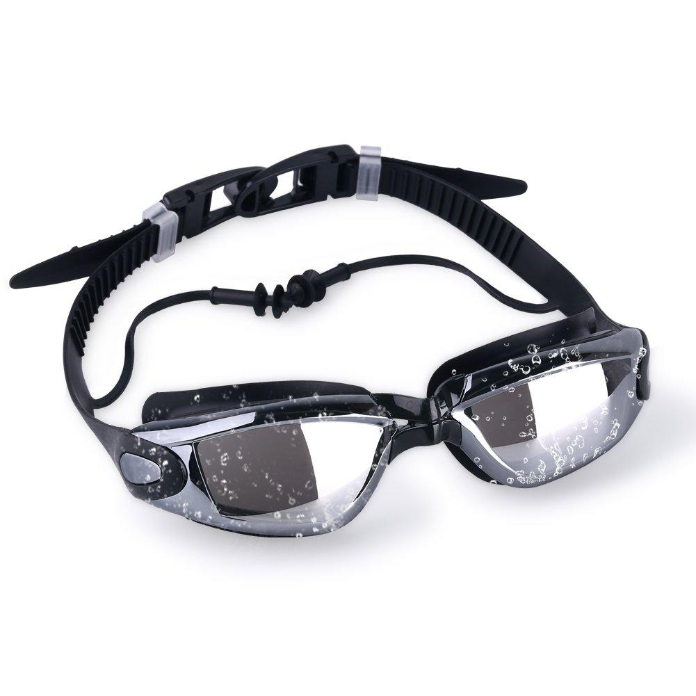 VPCOK Gafas de Natación Impermeable UV Anti-Niebla Deporte Profesional Ajustable para Hombres Mujeres Gafas Deportivas con Auriculares