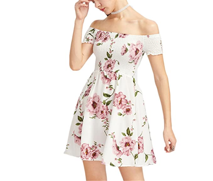 7f929e064a8 Eunsisa White Floral Dress Women Cute Bardot Ditsy Print Smock A Line  Summer Dresses New Sexy Off Shoulder Ruched Party Dress  Amazon.co.uk   Clothing