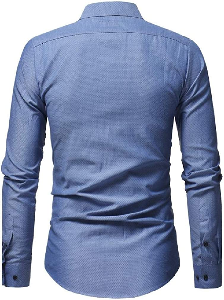 Sweatwater Mens Business Long Sleeve Lapel Neck Curved Hem Button Down Shirts