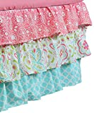 Gia Aqua Blue and Coral Pink Floral and Geometric Prints Layered Crib Dust Ruffle