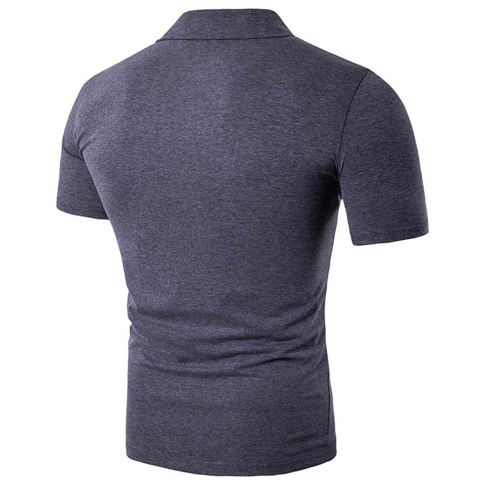 Newstarshop Men Polo Shirt Casual Short Sleeve Mens Cotton Polo Shirt Letter Print Polo
