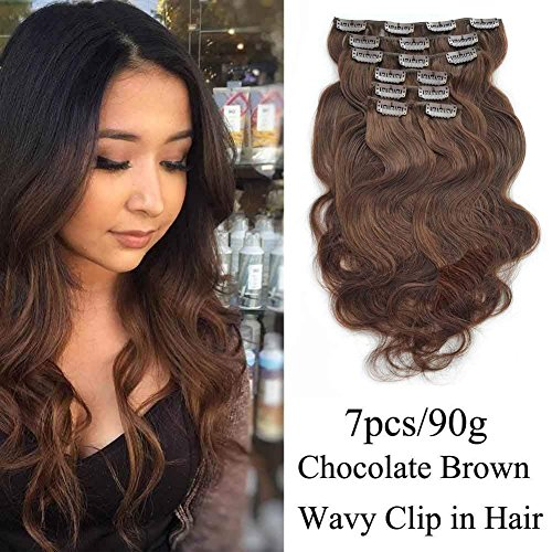 Brown Human Hair Clip - SHOWJARLLY #4 Chocolate Brown/Medium Brown Remy Clip in Human Hair Extensions Wavy 18