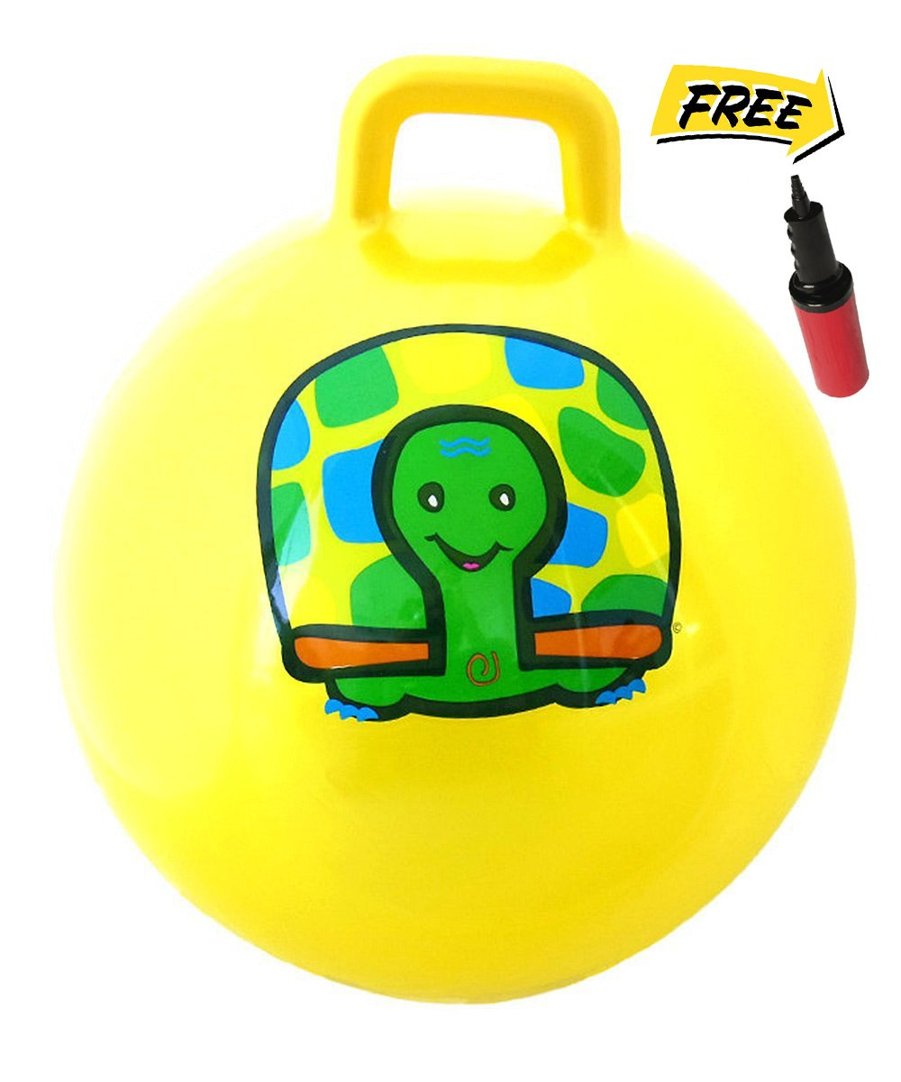 WALIKI TOYS Hopper Ball For Kids Ages 3 6 Hippity Hop Ball Hopping Ball Bouncy Ball With Handles Sit Bounce Kangaroo Bouncer Jumping Ball 18 Inches Yellow Pump Included
