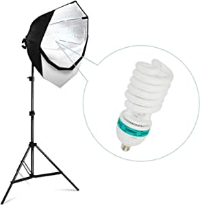 """LimoStudio [1Pack] Photography Studio Continuous 26"""" Octagonal Soft Box Lighting Light Kit with Photo E26, E27 CFL 105W 6500K Bulb and Light Stand for Photo Studio and Photo/Video Shooting, AGG702"""