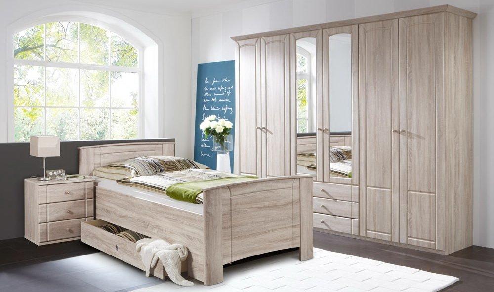 Schlafzimmer 3-tlg. in Eiche sägerau-Nachbildung, 6-trg. Kleiderschrank B: 270 cm, Kompaktbett 90 x 200 cm, Nachtschrank B: 52 cm