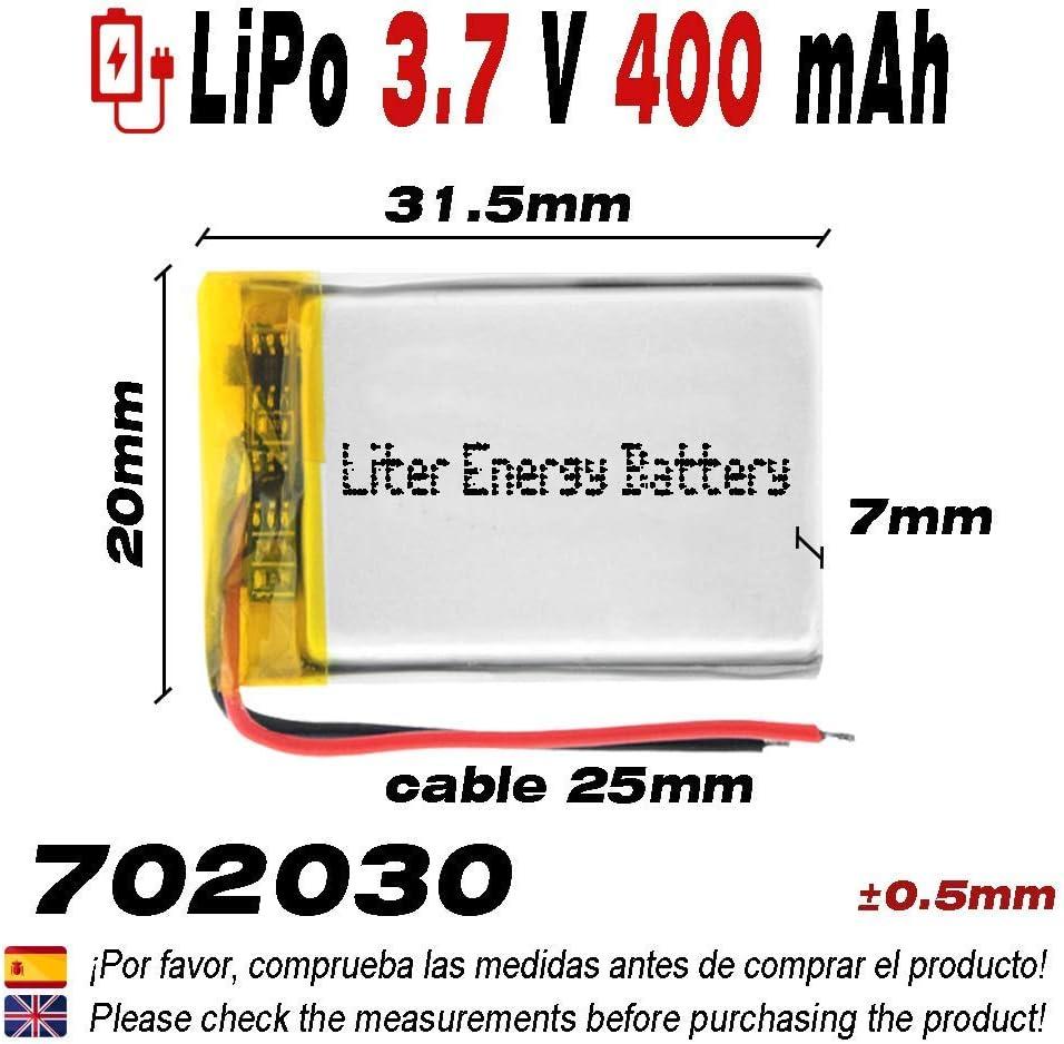 DronePost Bater/ía 702030 LiPo 3.7V 400mAh 1S tel/éfono port/átil v/ídeo mp3 mp4 luz led GPS
