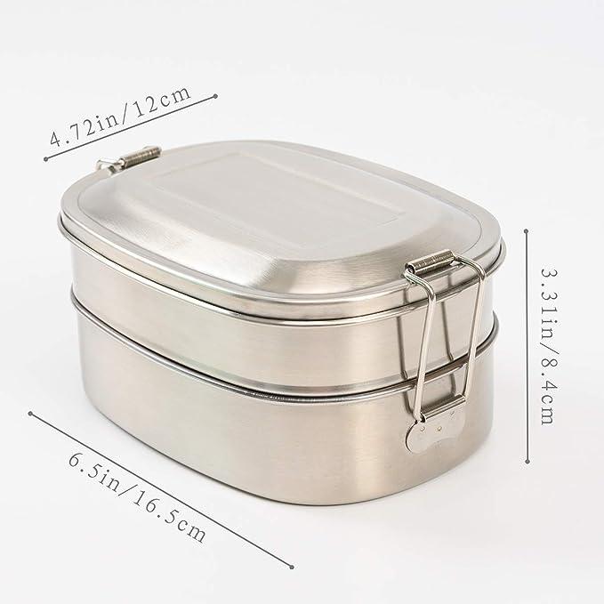 Amazon.com: Fiambrera de acero inoxidable con 3 ...