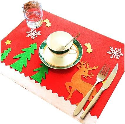 COM-FOUR/® 4 pezzi Tovaglietta Natale Tovaglietta per sala da pranzo e cucina Tovagliette con 2 diversi motivi di renne 04 pezzi - grigio