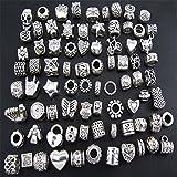 "Bundle Monster 40 PC Antique Silver Plated Oxidized Metal Beads Charms Set Mix Lot - Compatible with Pandora Biagi Troll Chamilia Bracelets w/ ""BM"" Pouch"