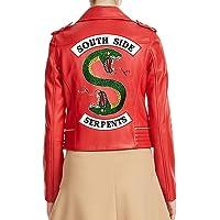 Premium Leather Products Chamarra de Piel para Mujer Southside Serpents Riverdale Slim Fit Biker Red