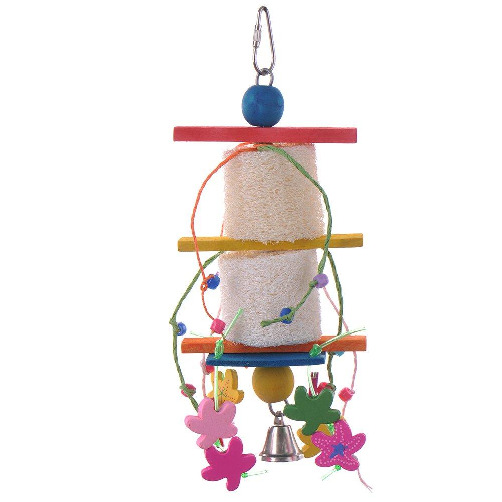 PUERI Jouet Oiseau en Bois pour Perroquet Perruche Perchoir Echelle Balancoire Color¨¦e pour Oiseaux Cage (Type A)