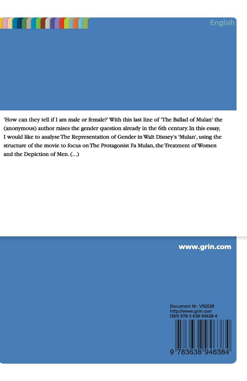the representation of gender in walt disney s mulan amazon co the representation of gender in walt disney s mulan amazon co uk sonja blum 9783638946384 books