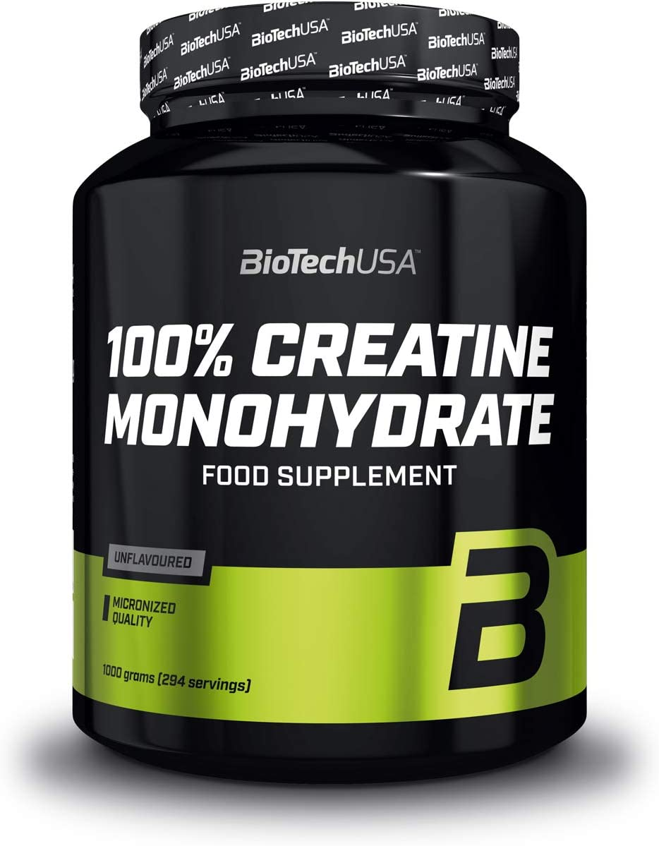 BioTechUSA 100% Creatine Monohydrate Complemento alimenticio en polvo sin sabor a base de monohidrato de creatina micronizado, 1 kg