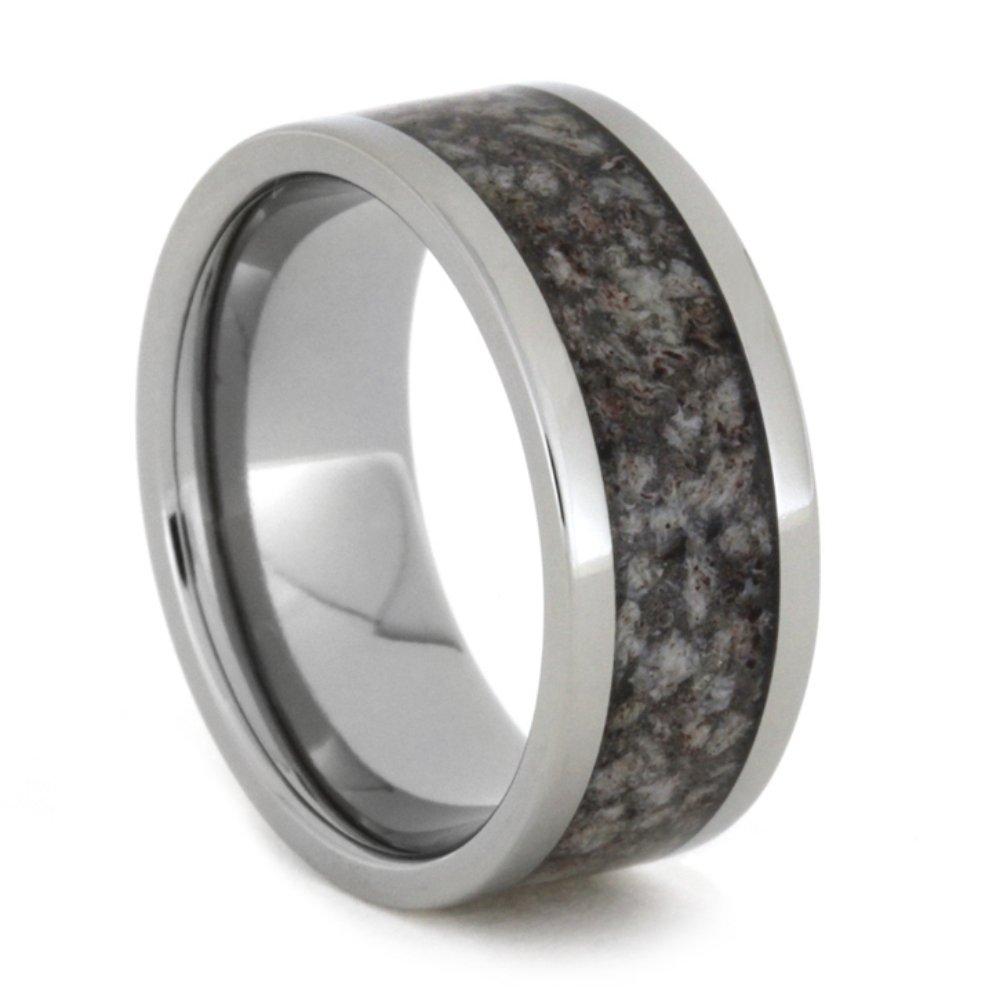 Dark Tone Deer Antler Inlay 9mm Comfort-Fit Titanium Ring, Size 8.75
