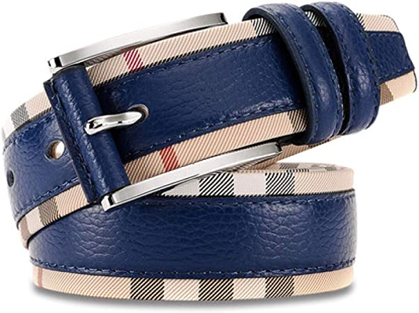 DENGDAI Mens Belts,Leather Belt,Belts for Mens Leather,Leather pin Buckle Belt Unisex Colored Leather Alloy Buckle Belt