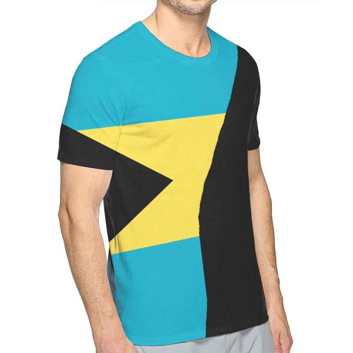 Funny T Shirts Printed Tees for Man JKNGGF2 Mens Bahamas Flag Tee Shirts