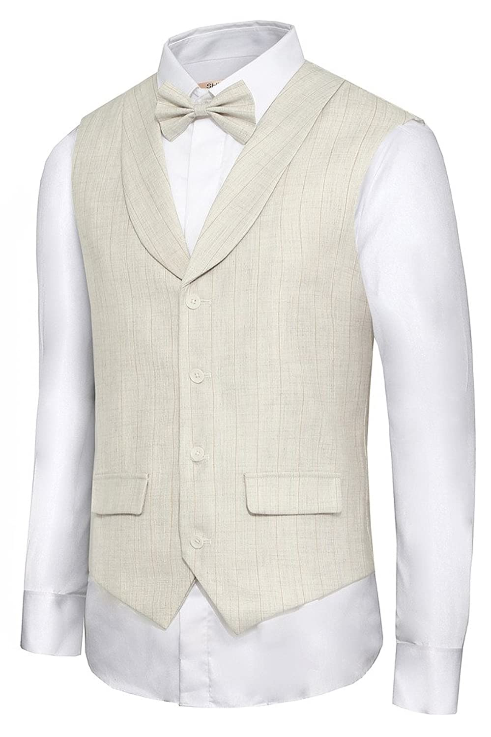 Men's Vintage Inspired Vests Hanayome Mens British Style Slim Fit Chain Point 4 Button Patry Dress vest VS09£¨BeigeM) $28.50 AT vintagedancer.com