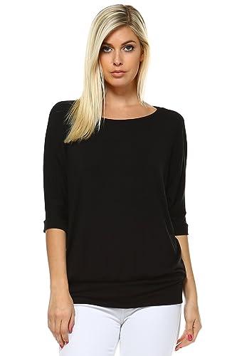 Oversized Dolman Tops For Women Bottom Banded Half Sleeve Made In USA
