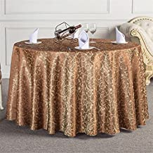European Style Solid Color Golden Jacquard Pattern Decorative Round Tablecloths Dark Brown