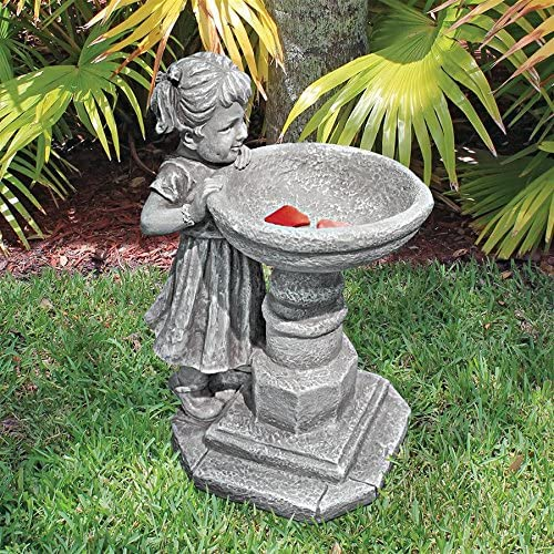 Design Toscano SH38018613 Georgina's Garden Gaze Child at Birdbath Statue,full color