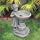 Design Toscano Statue Georgina's Garden Gaze, Kind an Vogeltränke