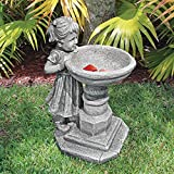 Design Toscano Georgina's Garden Gaze Child at Birdbath Statue For Sale