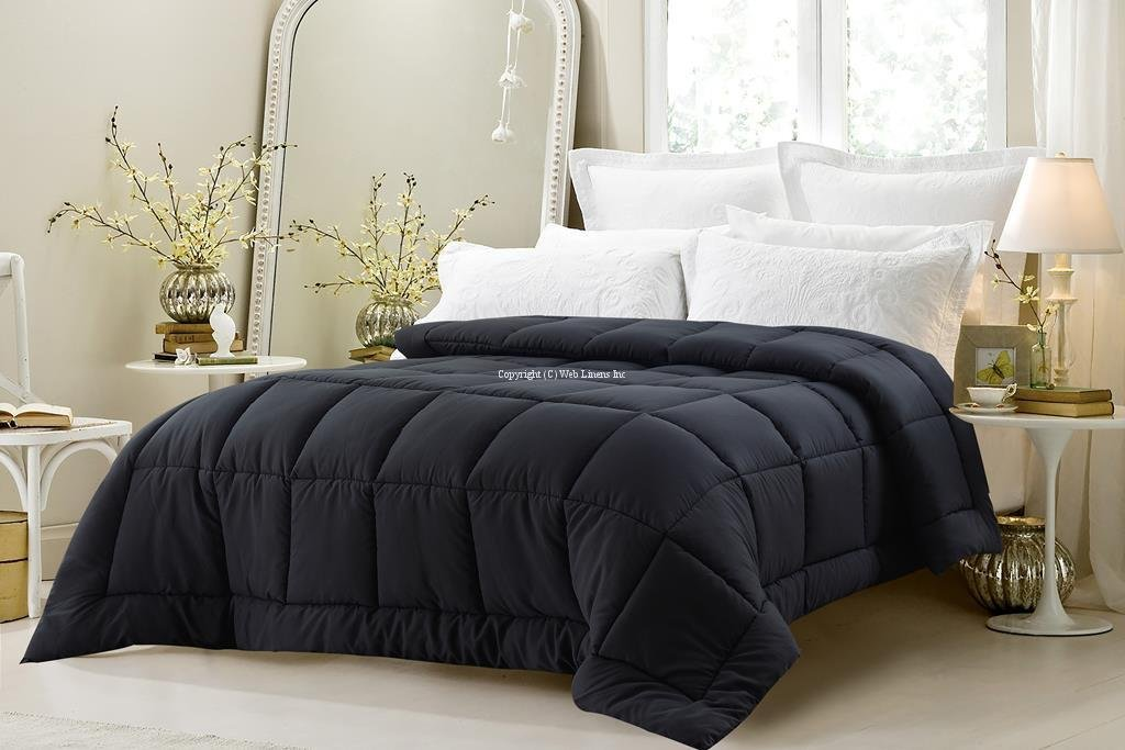 Super Oversized - High Quality - Down Alternative Comforter - Fits Pillow Top Beds - Queen - Black