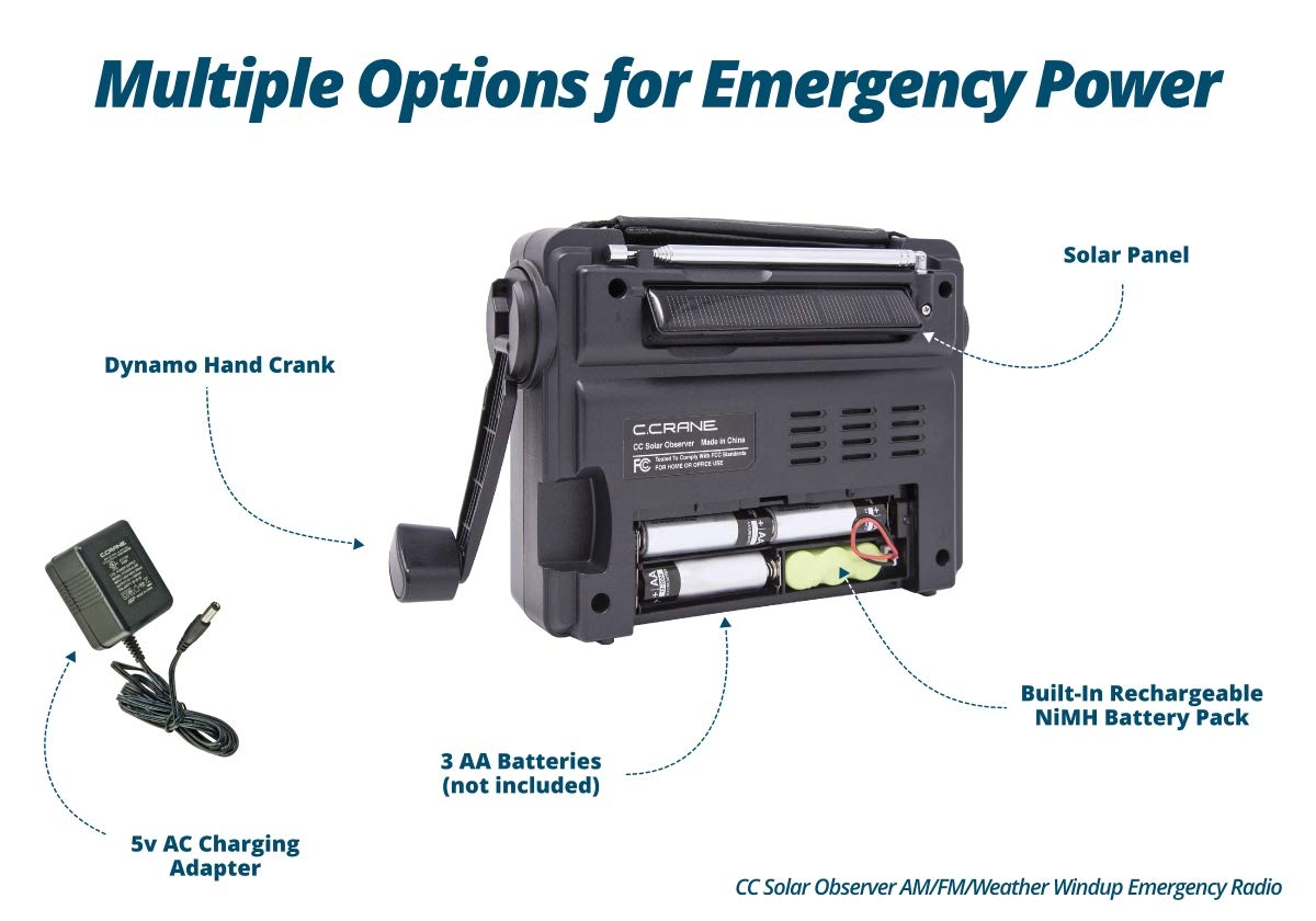 C. Crane CC Solar Observer Wind Up Solar Emergency Crank Radio with AM, FM, NOAA Weather, Built in LED Flashlight, Cellphone Charger and AC Adapter by C.CRANE